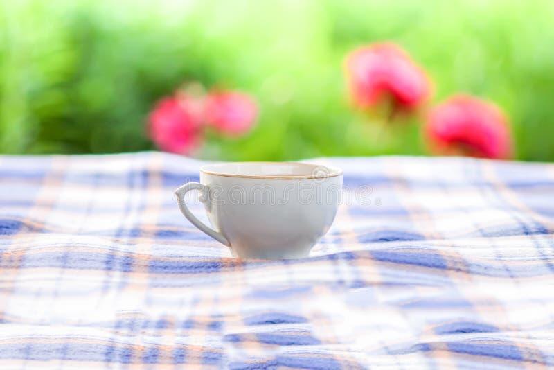 Το φλυτζάνι γυαλιού του πράσινου τσαγιού με jasmine ανθίζει σε έναν πίνακα σε έναν θερινό κήπο στοκ εικόνα με δικαίωμα ελεύθερης χρήσης