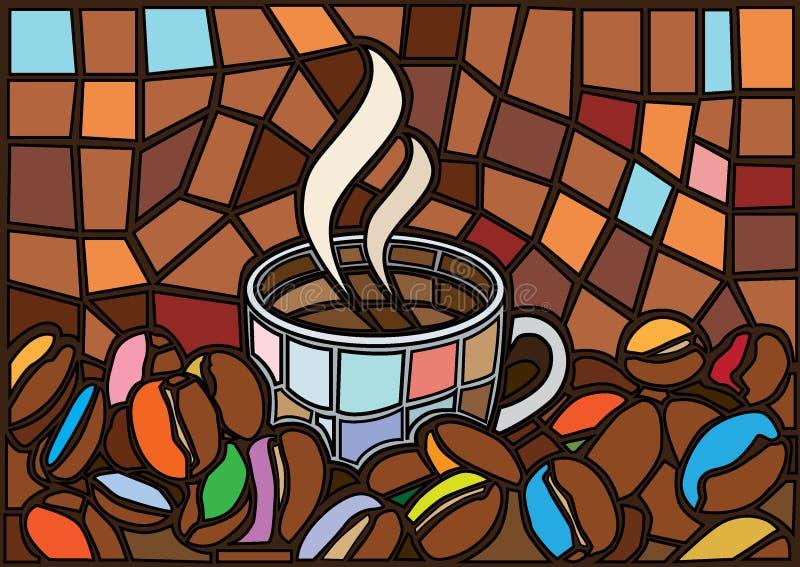 Το φλυτζάνι και τα φασόλια καφέ Μωυσής καφέ λεκίασαν το γυαλί διανυσματική απεικόνιση