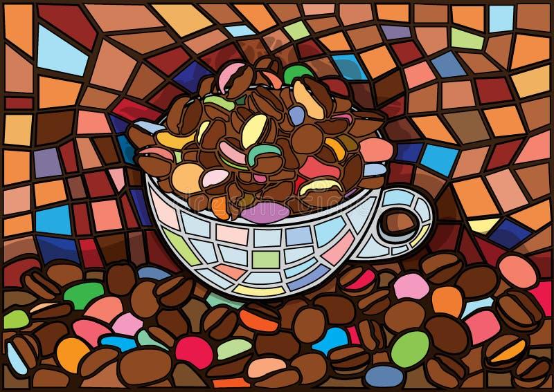 Το φλυτζάνι και τα φασόλια καφέ Μωυσής καφέ λεκίασαν το γυαλί ελεύθερη απεικόνιση δικαιώματος