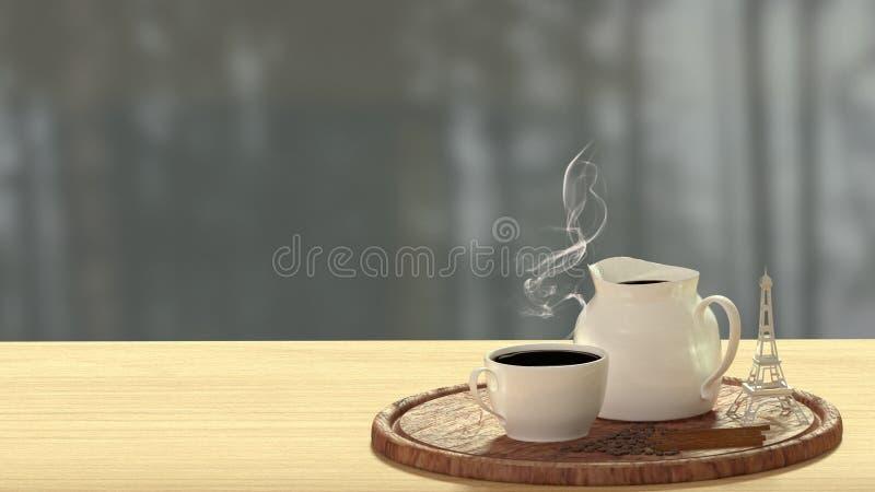 Το φλυτζάνι καφέ συλλογής τέχνης τρισδιάστατο δίνει από φαντάζεται το χρόνο καφέ διανυσματική απεικόνιση