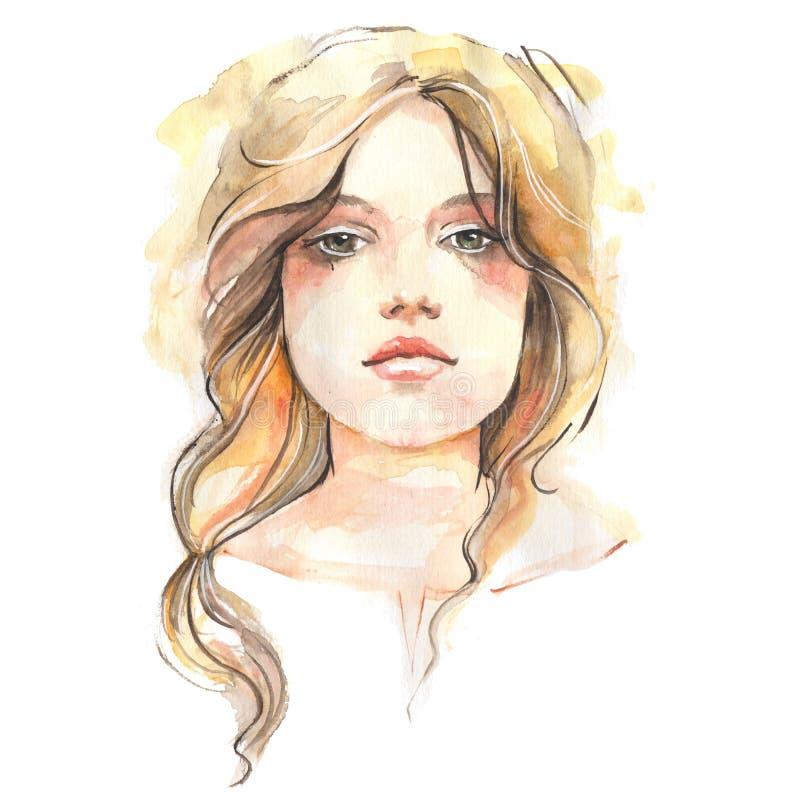 το φοβισμένο πορτρέτο κοριτσιών προσώπου εξέπληξε τις νεολαίες watercolor διανυσματική απεικόνιση