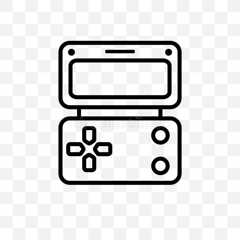 Το φορητό διανυσματικό γραμμικό εικονίδιο παιχνιδιών που απομονώνεται στο διαφανές υπόβαθρο, φορητή έννοια διαφάνειας παιχνιδιών  διανυσματική απεικόνιση