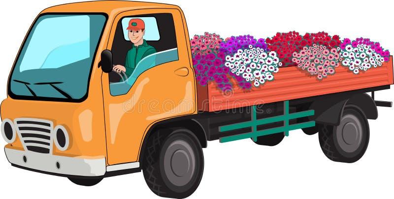 Το φορτηγό μετέφερε τα λουλούδια διανυσματική απεικόνιση
