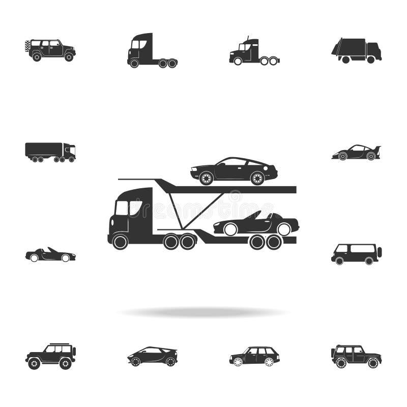 Το φορτηγό μεταφορέων αυτοκινήτων παραδίδει το νέο αυτόματο εικονίδιο Λεπτομερές σύνολο εικονιδίων μεταφορών Γραφικό σχέδιο εξαιρ διανυσματική απεικόνιση