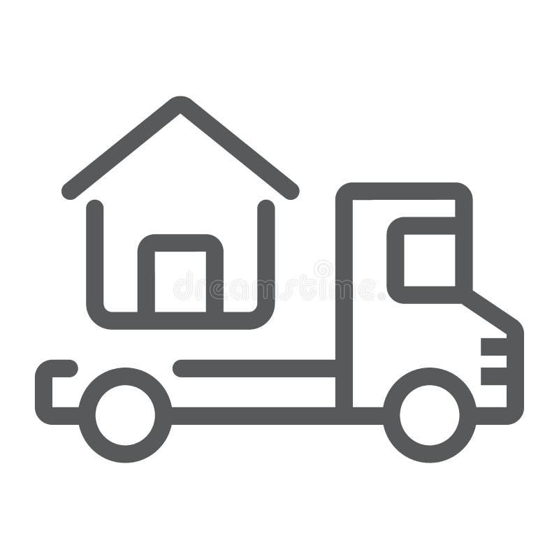 Το φορτηγό παραδίδει το εικονίδιο ιδιωτικών πυροσβεστικών σωλήνων, ακίνητη περιουσία διανυσματική απεικόνιση