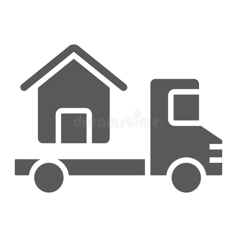 Το φορτηγό παραδίδει το εικονίδιο σπιτιών glyph, ακίνητη περιουσία ελεύθερη απεικόνιση δικαιώματος