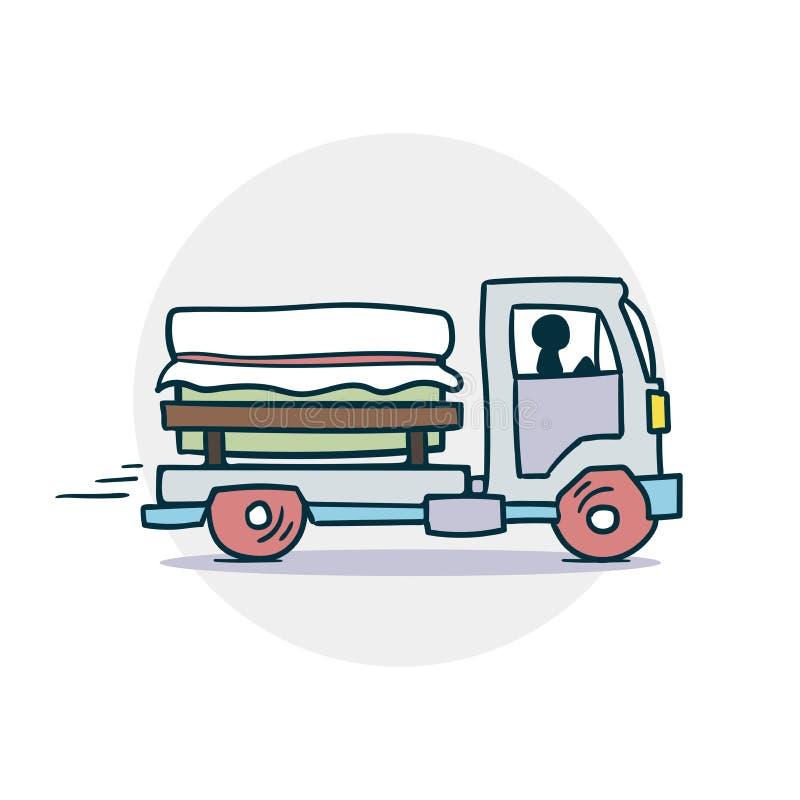 Το φορτηγό παραδίδει το εικονίδιο φορτίου διανυσματική απεικόνιση