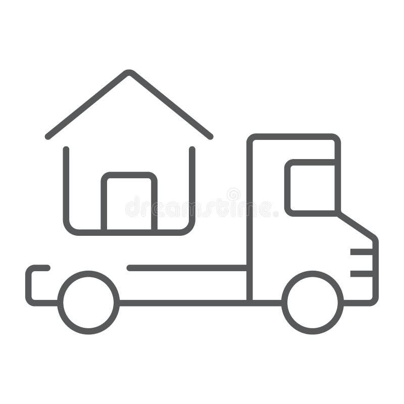 Το φορτηγό παραδίδει το λεπτό εικονίδιο ιδιωτικών πυροσβεστικών σωλήνων διανυσματική απεικόνιση
