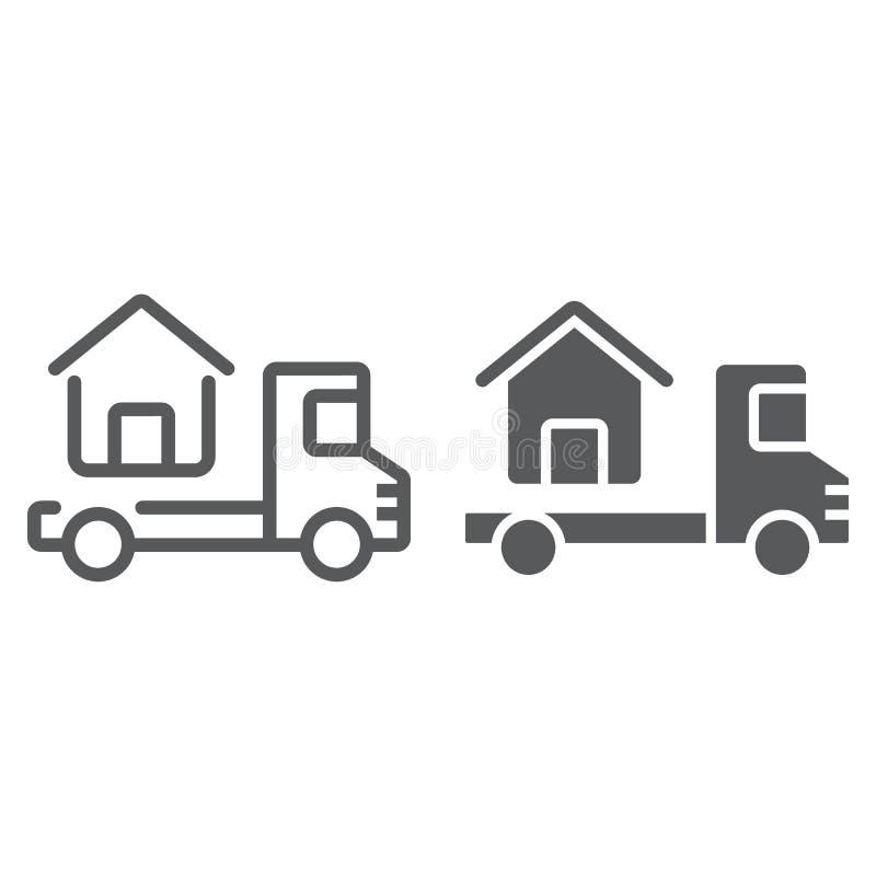 Το φορτηγό παραδίδει τον ιδιωτικό πυροσβεστικό σωλήνα και glyph το εικονίδιο ελεύθερη απεικόνιση δικαιώματος