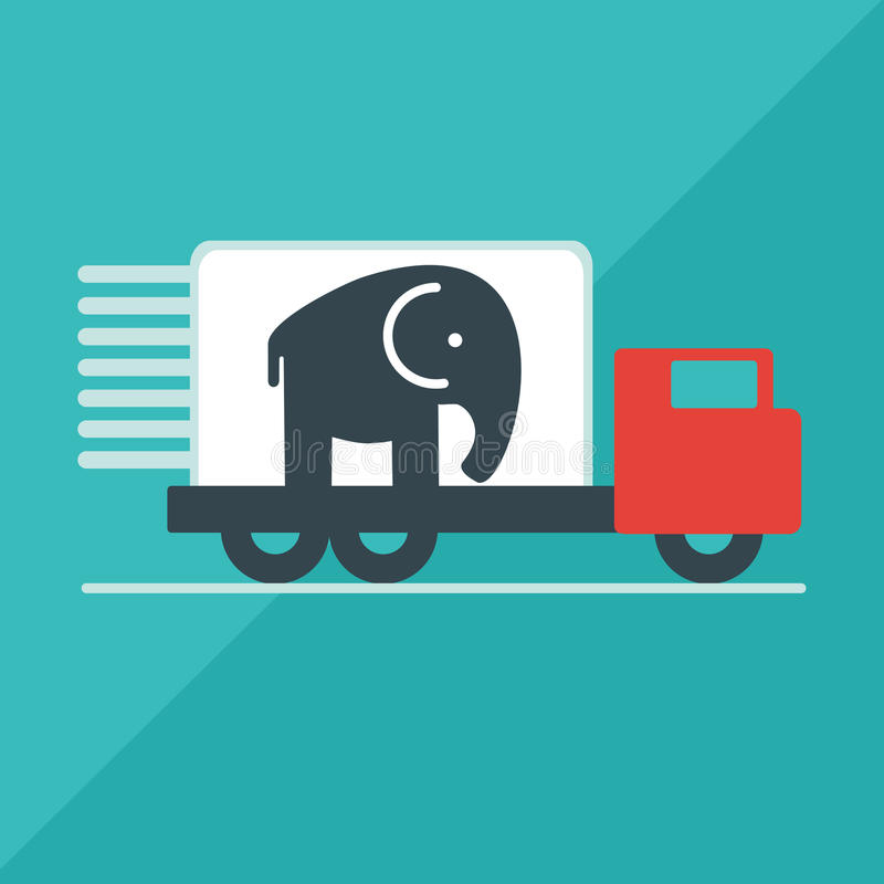 Το φορτηγό παραδίδει τον ελέφαντα απεικόνιση αποθεμάτων