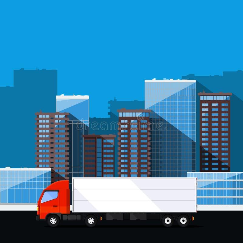 Το φορτηγό φορτίου παραδίδει τις διαταγές διανυσματική απεικόνιση