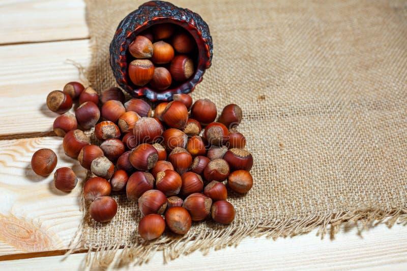 Το φουντούκι βρίσκεται σε ένα ξύλινο υπόβαθρο των μεγάλων καρυδιών στοκ φωτογραφία