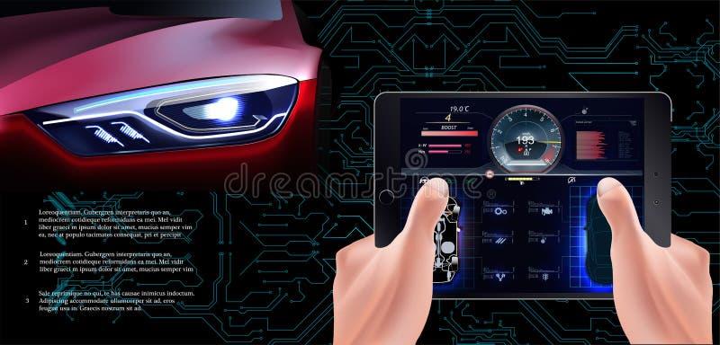 Το φουτουριστικό κόκκινο αυτοκίνητο σε ένα τεχνολογικό υπόβαθρο Αυτοκίνητο ανίχνευσης, διανυσματική απεικόνιση
