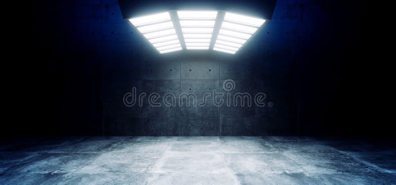 Το φουτουριστικό του Sci Fi σύγχρονο κενό μεγάλο αντανακλαστικό σκυρόδεμα Grunge αιθουσών σκοτεινό έκαμψε τη μεγάλη άσπρη μπλε σκ διανυσματική απεικόνιση