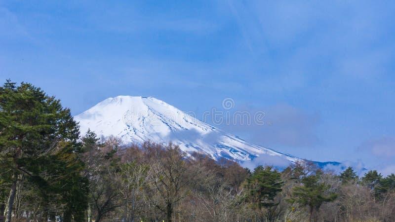 Το Φούτζι τοποθετεί με το χιόνι στο τοπ την άνοιξη χρόνο στη λίμνη Yamanaka στοκ εικόνες