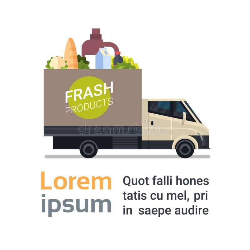 Το φρέσκο εικονίδιο υπηρεσιών παράδοσης προϊόντων παντοπωλείων με το φορτηγό παραδίδει τα τρόφιμα διανυσματική απεικόνιση