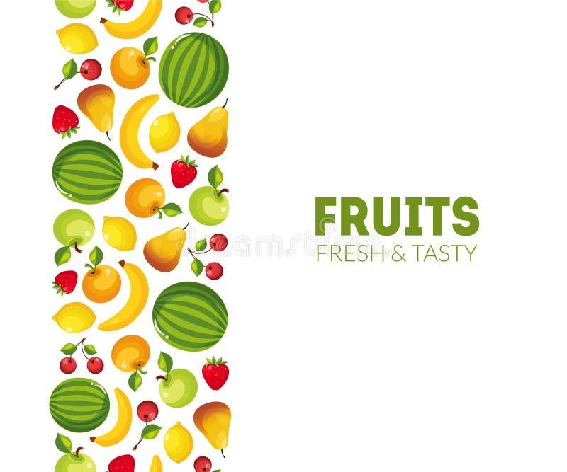 Το φρέσκο και νόστιμο πρότυπο εμβλημάτων φρούτων, στοιχείο σχεδίου μπορεί να χρησιμοποιηθεί για την ετικέτα καταστημάτων παντοπωλ απεικόνιση αποθεμάτων