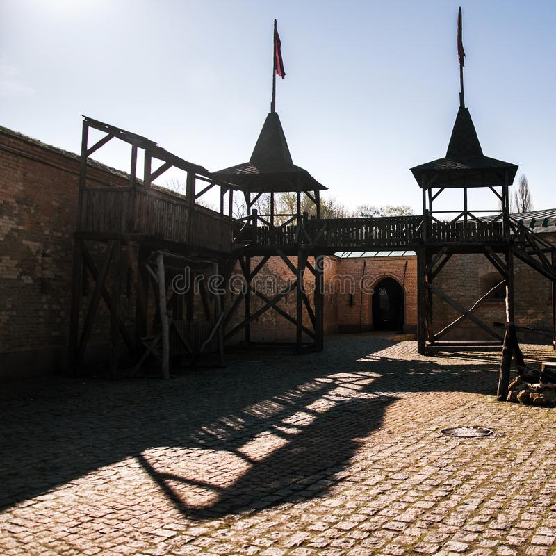 Το φρούριο του Κίεβου - λοξό Caponier Φωτογράφιση στο kontrovy φως r στοκ φωτογραφία με δικαίωμα ελεύθερης χρήσης