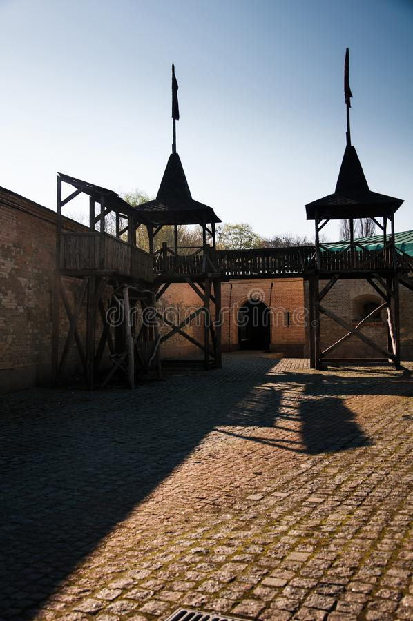 Το φρούριο του Κίεβου - λοξό Caponier Φωτογράφιση στο kontrovy φως r στοκ εικόνα με δικαίωμα ελεύθερης χρήσης