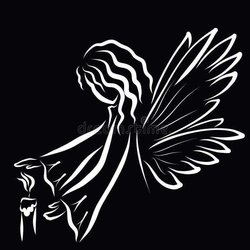 Το φτερωτό κορίτσι ή ο άγγελος προστατεύει τη φλόγα ενός κεριού ελεύθερη απεικόνιση δικαιώματος
