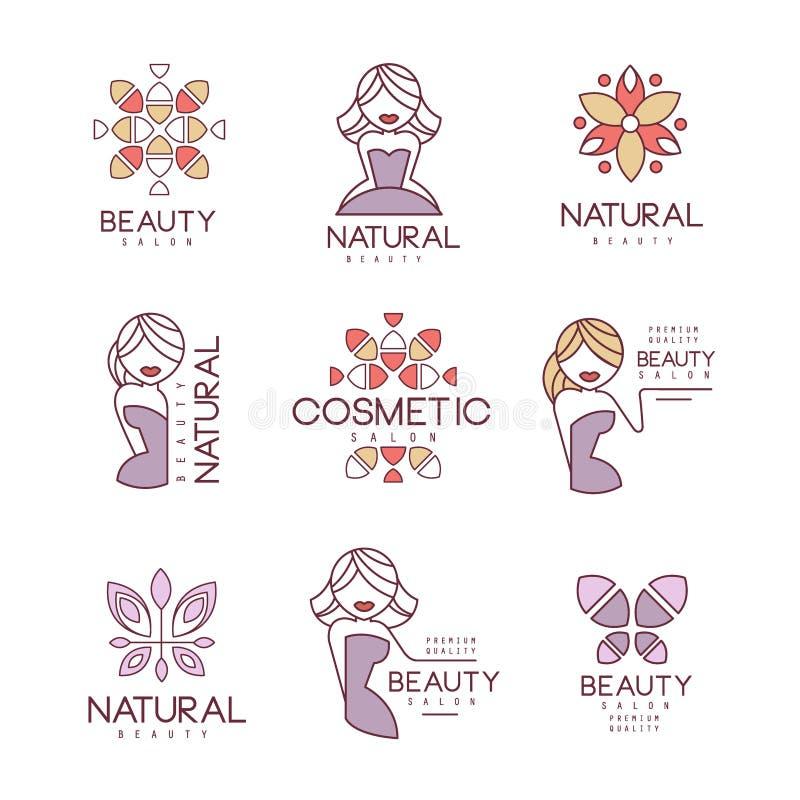 Το φυσικό σύνολο σαλονιών ομορφιάς συρμένων χέρι κινούμενων σχεδίων περιέγραψε τα πρότυπα σχεδίου σημαδιών με τα θηλυκά σχέδια χα ελεύθερη απεικόνιση δικαιώματος