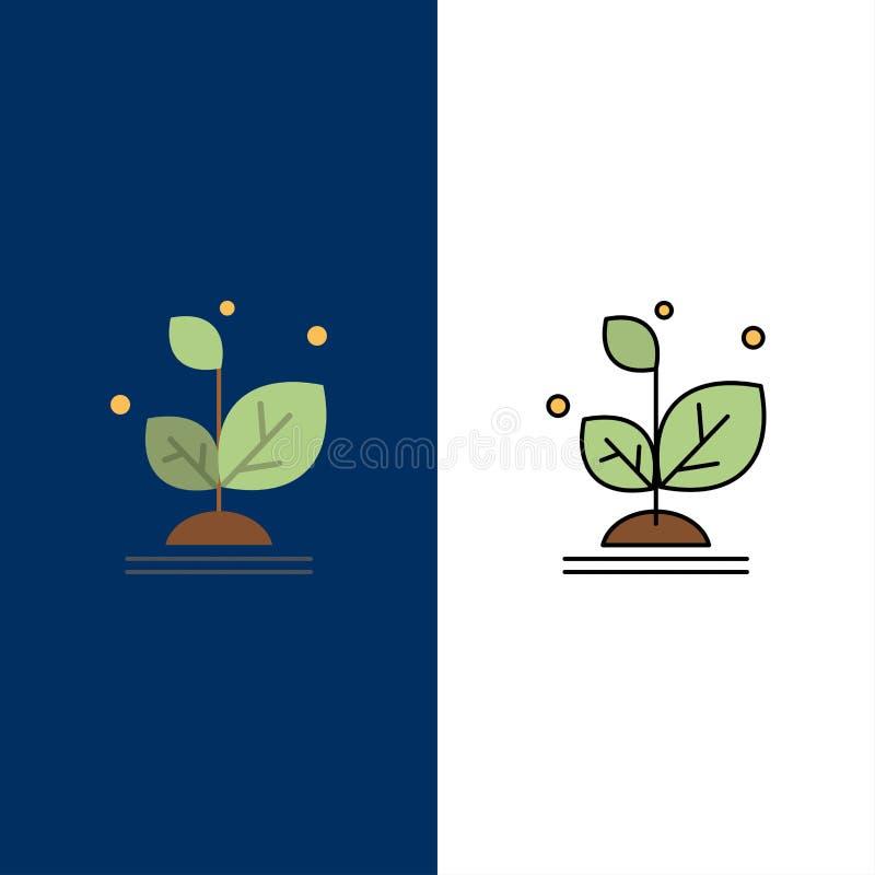 Το φυτό, αυξάνεται, αύξηση, εικονίδια επιτυχίας Επίπεδος και γραμμή γέμισε το καθορισμένο διανυσματικό μπλε υπόβαθρο εικονιδίων διανυσματική απεικόνιση