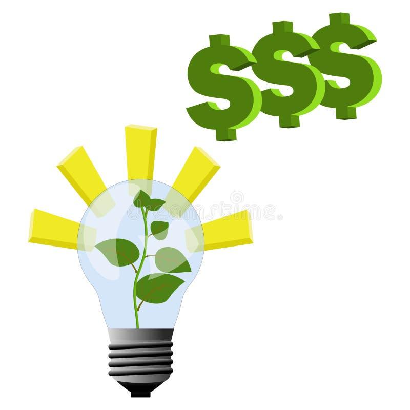 Το φυτό αυξάνεται μέσα στο λαμπτήρα - φως και εμπνεύσεις για την επιχειρησιακή ιδέα να γίνουν τα χρήματα και η ανάπτυξη στην κορυ απεικόνιση αποθεμάτων