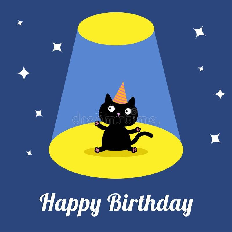 Το φως προβολέων στο τσίρκο παρουσιάζει στα χαριτωμένα κινούμενα σχέδια μαύρη γάτα με το καπέλο κουνέλι δώρων καρτών γενεθλίων Επ ελεύθερη απεικόνιση δικαιώματος