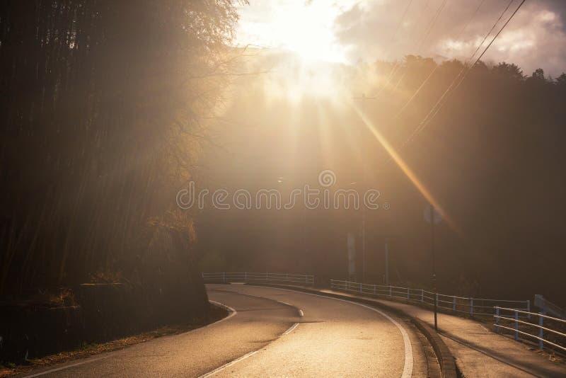 το φως του ήλιου λάμπει στην οδό καμπυλών προς τα κάτω στοκ εικόνες με δικαίωμα ελεύθερης χρήσης