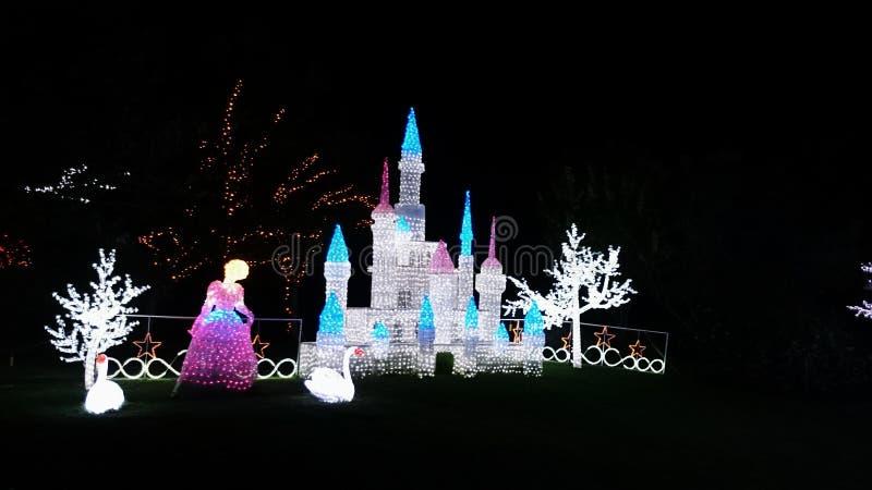 Το φως Χριστουγέννων παρουσιάζει - Cinderella και Castle στοκ εικόνες με δικαίωμα ελεύθερης χρήσης
