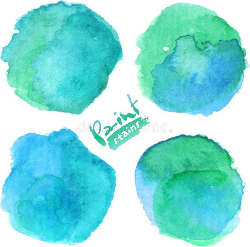 Το φωτεινό μπλε watercolor χρωμάτισε το σύνολο λεκέδων διανυσματική απεικόνιση