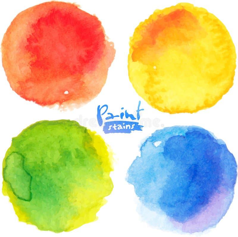 Το φωτεινό watercolor χρωμάτων χρωμάτισε το σύνολο λεκέδων ελεύθερη απεικόνιση δικαιώματος