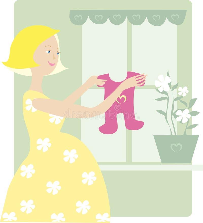 το φόρεμα μωρών απολαμβάνει έγκυο ελεύθερη απεικόνιση δικαιώματος