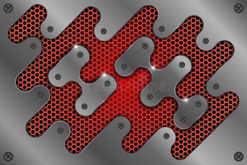 Το φύλλο μετάλλων είναι στο κόκκινο πλέγμα ως αφηρημένο υπόβαθρο ελεύθερη απεικόνιση δικαιώματος