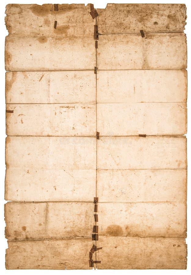 Το φύλλο εγγράφου Falded χρησιμοποίησε τη λεκιασμένη σύσταση εγγράφου στοκ εικόνα