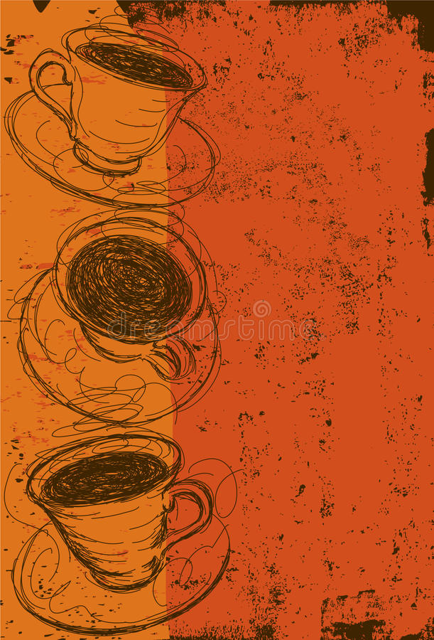 το φλυτζάνι καφέ κοιλαίνει το ονειροπόλο μέτωπο εστίασης έχει να φανεί φωτογραφία μαλακή διανυσματική απεικόνιση