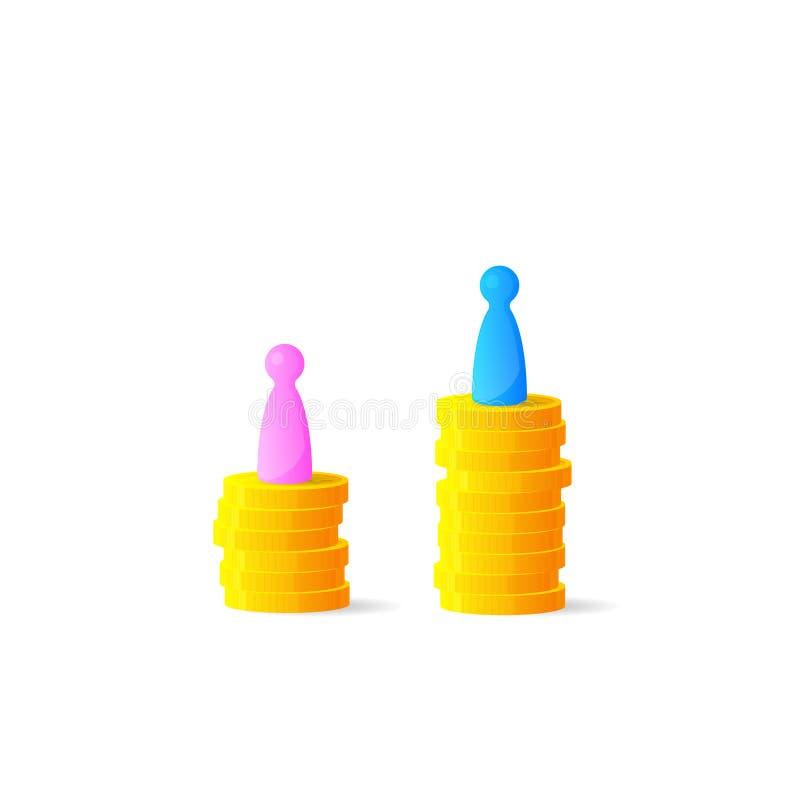 Το χάσμα γένους ή άνισος πληρώνει την έννοια διανυσματική απεικόνιση