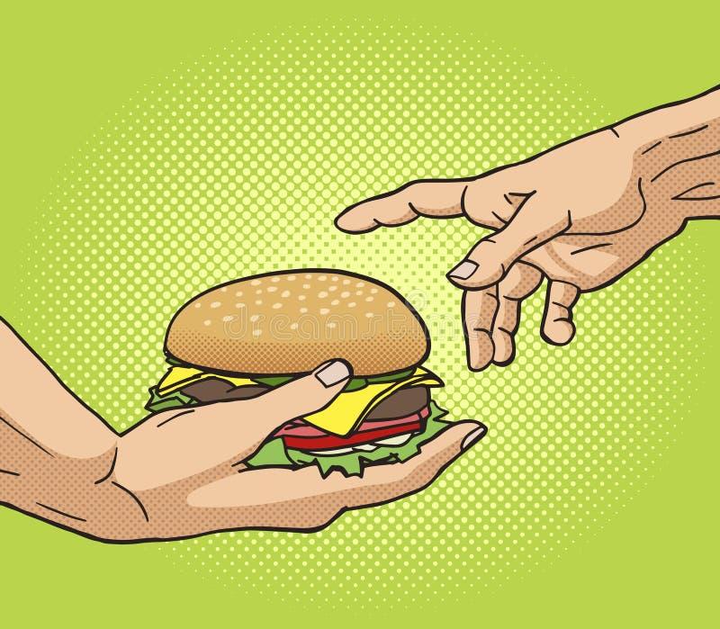 Το χέρι δίνει burger σε άλλο λαϊκό διάνυσμα τέχνης χεριών ελεύθερη απεικόνιση δικαιώματος