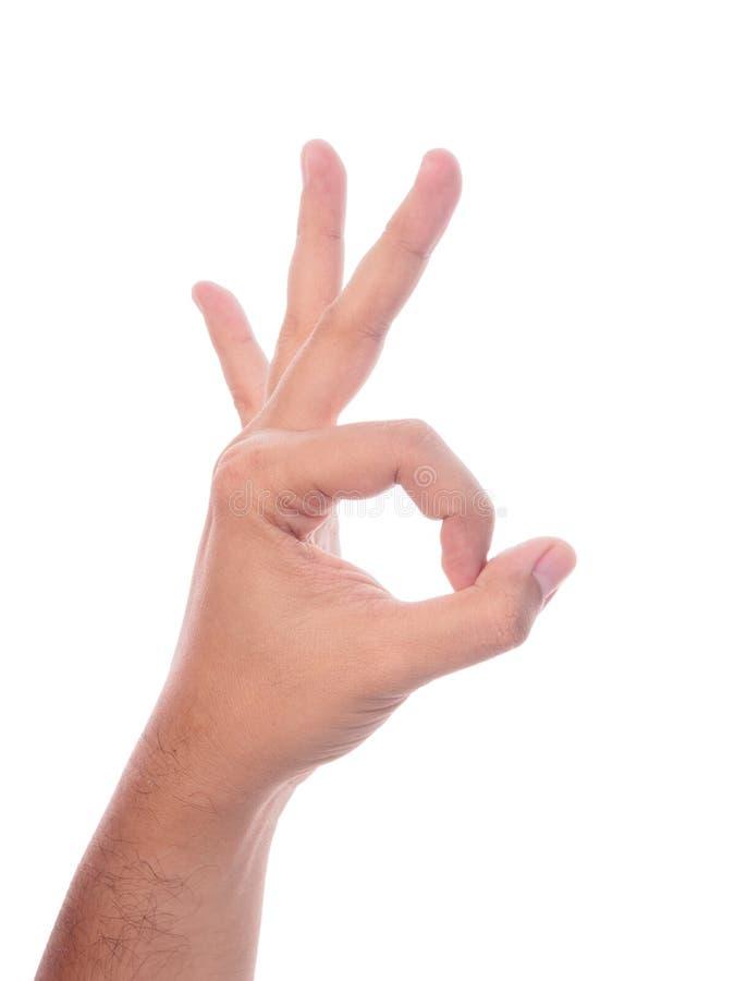 το χέρι ανασκόπησης απομόνωσε το εντάξει λευκό σημαδιών στοκ φωτογραφία με δικαίωμα ελεύθερης χρήσης