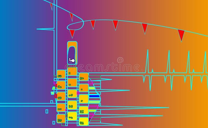 Το χέρι απαιτείται για εισάγει Το αφηρημένο πληκτρολόγιο υποβάθρου, πηγαίνει μια ε-εκμάθηση Πιέστε το πληκτρολόγιο και όλα διανυσματική απεικόνιση