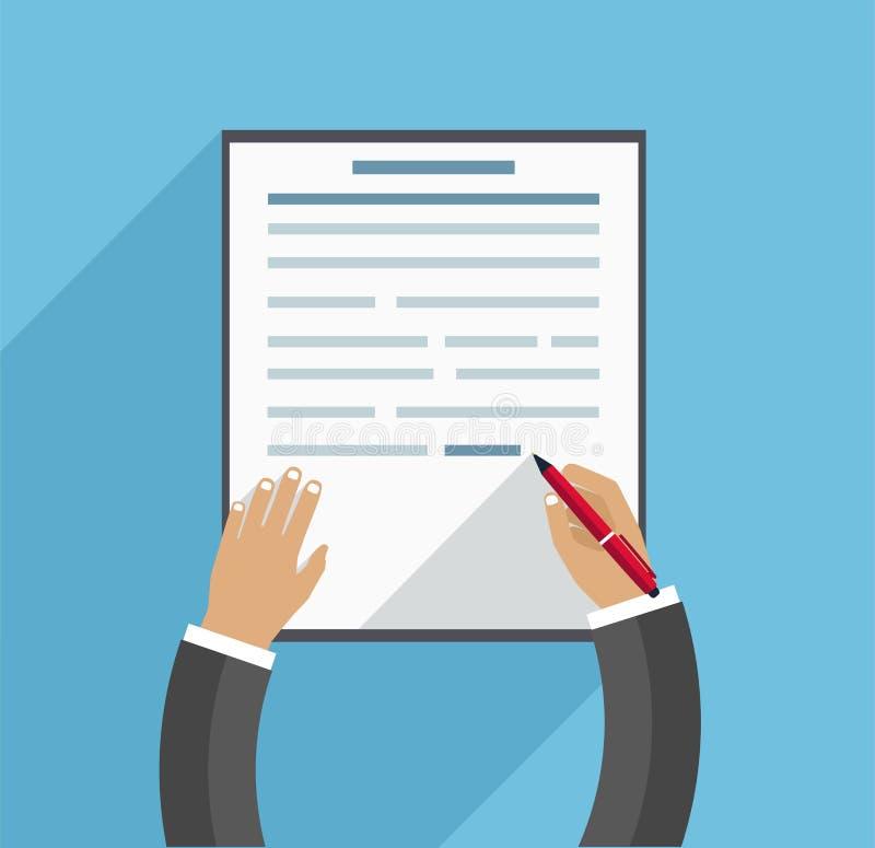 Το χέρι γεμίζει τη σύμβαση, επιχειρησιακή έννοια στο μπλε υπόβαθρο σε ένα επίπεδο ύφος ελεύθερη απεικόνιση δικαιώματος