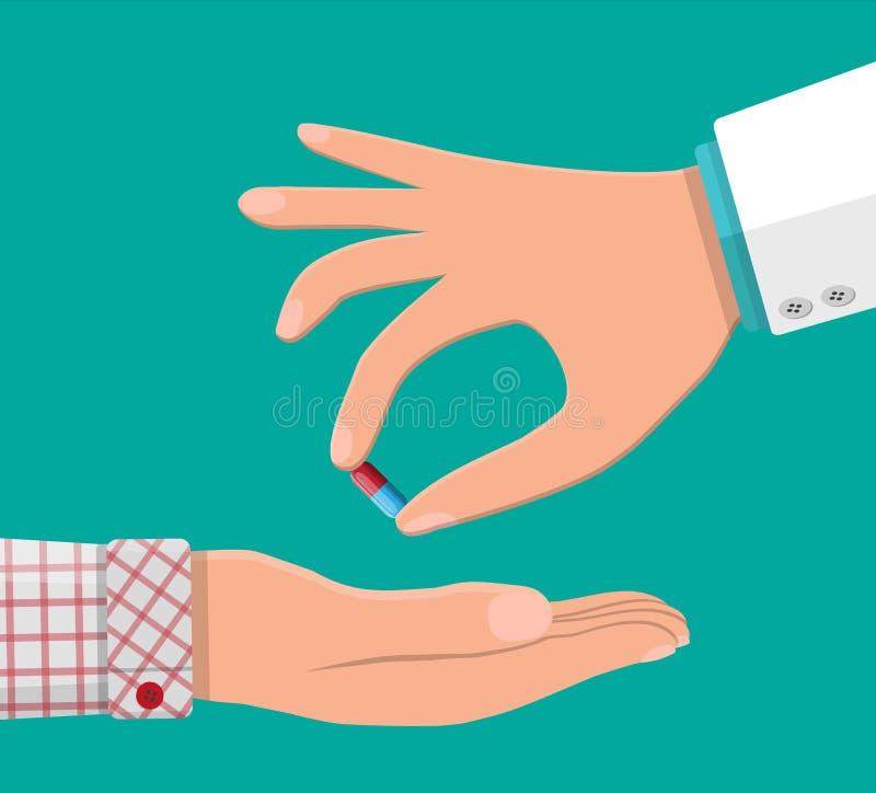 Το χέρι γιατρών δίνει την κάψα στον ασθενή διανυσματική απεικόνιση