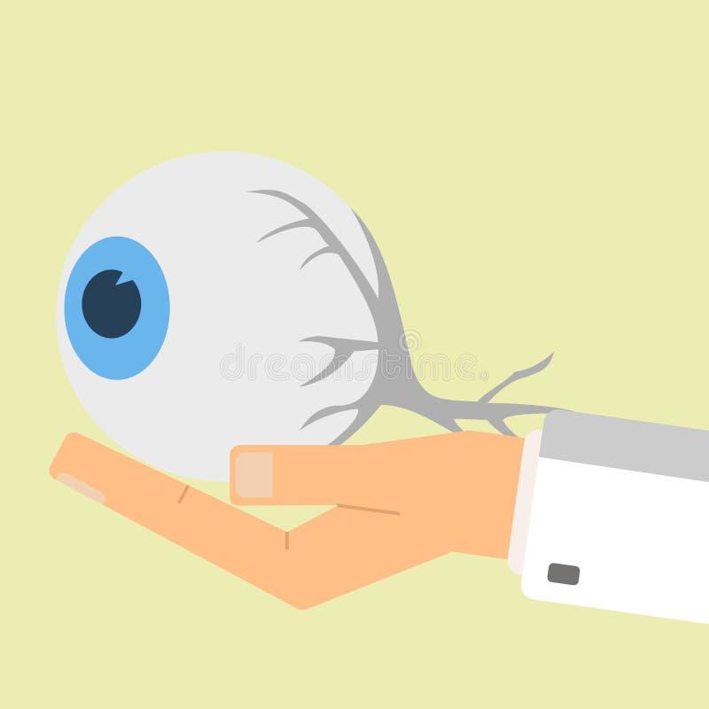 Το χέρι γιατρών που κρατά το ανθρώπινο μάτι όντας χέρι έννοιας έχει το πρόσφατο χάπι οδηγιών υγειονομικής περίθαλψης Διανυσματικό διανυσματική απεικόνιση
