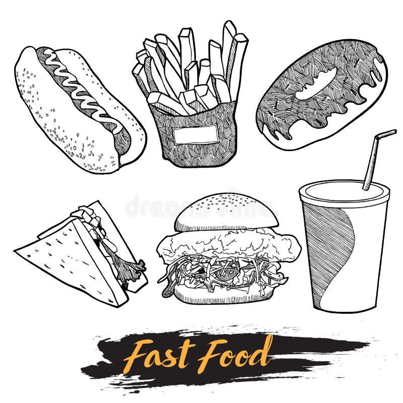 Το χέρι γρήγορου φαγητού σύρει το σύνολο διανυσματική απεικόνιση