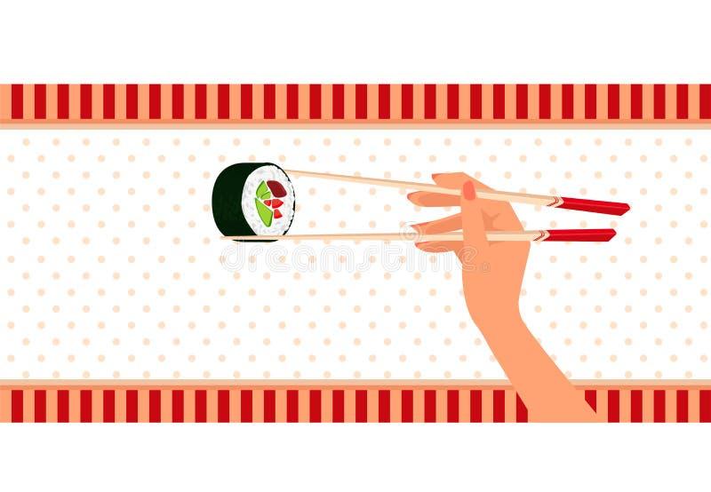 Το χέρι γυναικών κρατά από chopsticks τα σούσια maki διανυσματική απεικόνιση