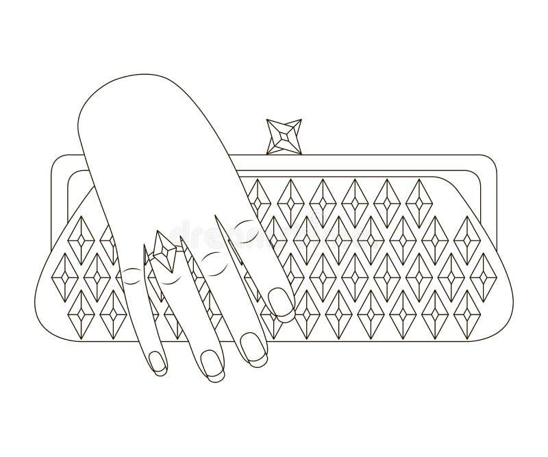 Το χέρι γυναικών κρατά την τσάντα συμπλεκτών Τυποποιημένο σχέδιο περιλήψεων απεικόνιση αποθεμάτων