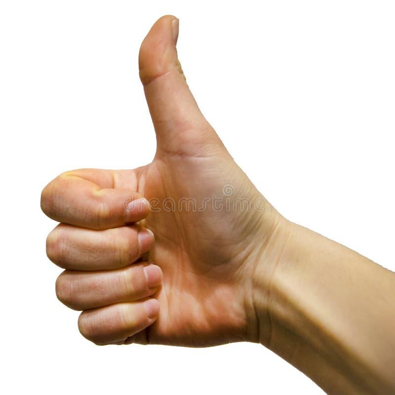 Το χέρι γυναικών που παρουσιάζει αντίχειρα υπογράφει επάνω στοκ φωτογραφίες με δικαίωμα ελεύθερης χρήσης