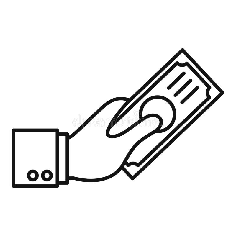 Το χέρι δίνει το εικονίδιο χρημάτων, περιγράφει το ύφος ελεύθερη απεικόνιση δικαιώματος