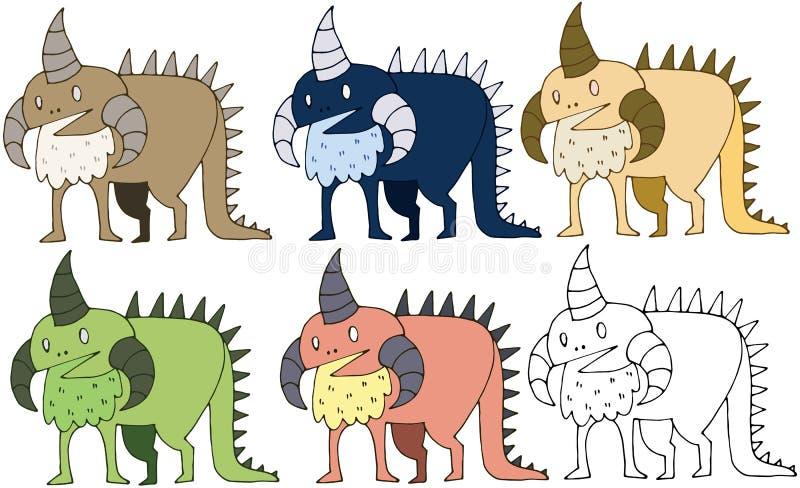 Το χέρι δεινοσαύρων τεράτων χρώματος κινούμενων σχεδίων τυπωμένων υλών doodle σύρει το αστείο σύνολο διανυσματική απεικόνιση