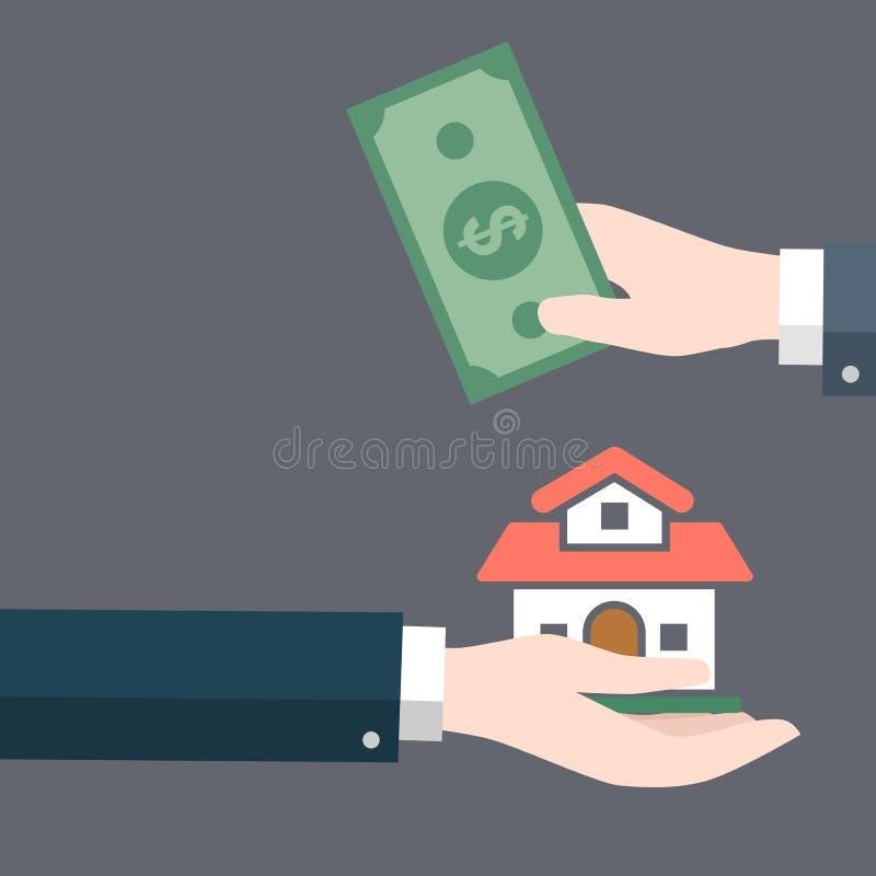 Το χέρι επιχειρηματιών δίνει το σπίτι σε άλλο χέρι με το μετρητό-διάνυσμα χρημάτων απεικόνιση αποθεμάτων